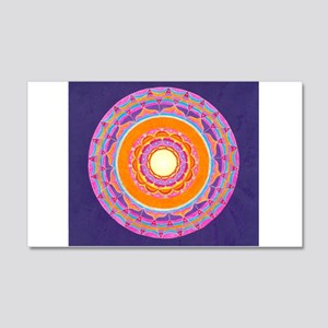 Dayglo Pink and Orange Mandala 20x12 Wall Decal