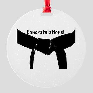 Congratulations Black Belt Round Ornament