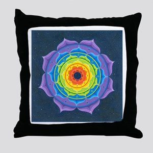 Rainbow Lotus Mandala Throw Pillow