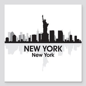 "New York Skyline Square Car Magnet 3"" x 3"""