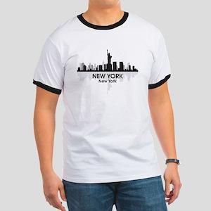 New York Skyline Ringer T