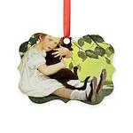 Little Girl Loves Her Kitty Picture Ornament