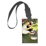 Little Girl Loves Her Kitty Large Luggage Tag