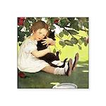 Little Girl Loves Her Kitty Square Sticker 3