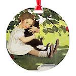 Little Girl Loves Her Kitty Round Ornament