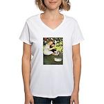Little Girl Loves Her Kitty Women's V-Neck T-Shirt