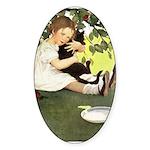 Little Girl Loves Her Kitty Sticker (Oval)