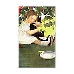 Little Girl Loves Her Kitty Sticker (Rectangle 10
