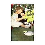 Little Girl Loves Her Kitty Sticker (Rectangle 50