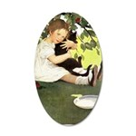 Little Girl Loves Her Kitty 35x21 Oval Wall Decal