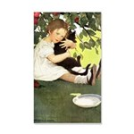 Little Girl Loves Her Kitty 35x21 Wall Decal