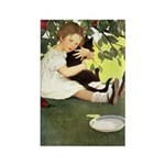 Little Girl Loves Her Kitty Rectangle Magnet (10 p