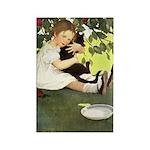 Little Girl Loves Her Kitty Rectangle Magnet (100