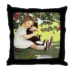 Little Girl Loves Her Kitty Throw Pillow