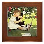 Little Girl Loves Her Kitty Framed Tile