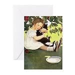Little Girl Loves Her Kitty Greeting Cards (Pk of