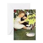 Little Girl Loves Her Kitty Greeting Card