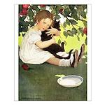 Little Girl Loves Her Kitty Small Poster
