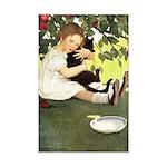 Little Girl Loves Her Kitty Mini Poster Print