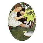 Little Girl Loves Her Kitty Ornament (Oval)