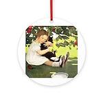 Little Girl Loves Her Kitty Ornament (Round)