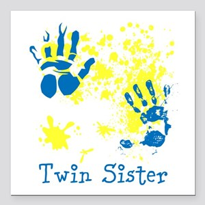 "Twin Sister. Splat Design. Square Car Magnet 3"" x"