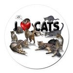 """Round Car Magnet """"I love Cats"""""""