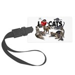 """Large Luggage Tag """"I love Cats"""""""
