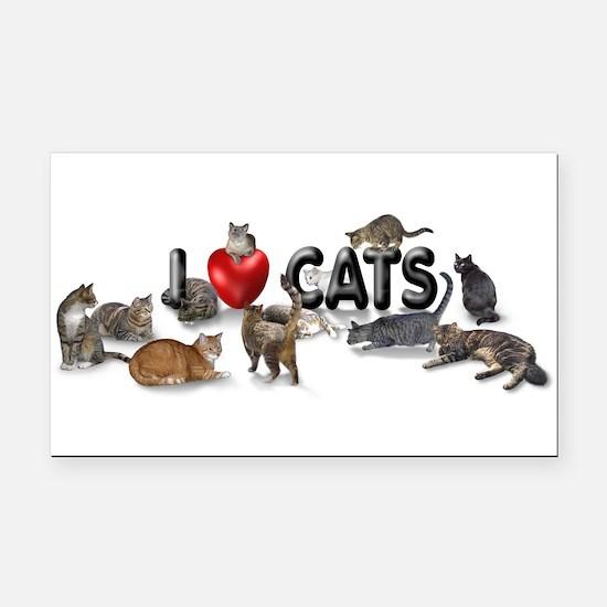 "Rectangle Car Magnet ""I love Cats"""