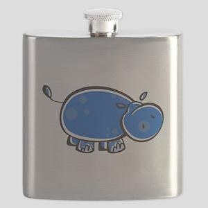 bright blue hippo Flask