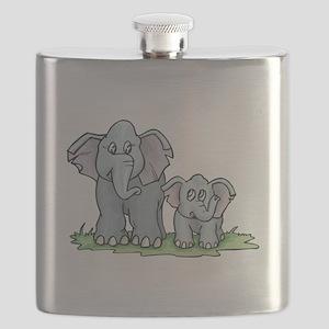 mommy baby elephant Flask