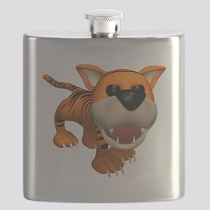 cute roaring baby tiger Flask