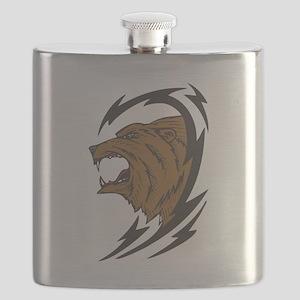 ferocious bear tribal design Flask