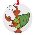 silly happy hermit crab.png Round Ornament