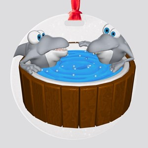 sharks in a hot tub Round Ornament