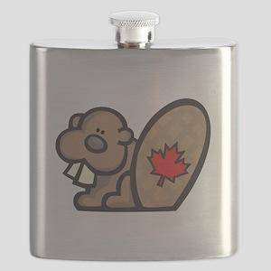 cute canadian beaver Flask