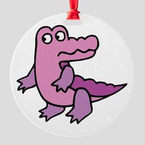 purple alligator Round Ornament