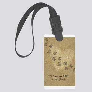 "Large Luggage Tag ""Paw Prints on our Hearts&q"