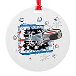 hockey puck breakthru copy.png Round Ornament