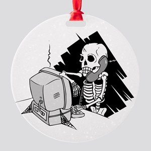 skeleton on tech support hold Round Ornament