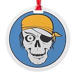 pirate skull colored copy.jpg Round Ornament