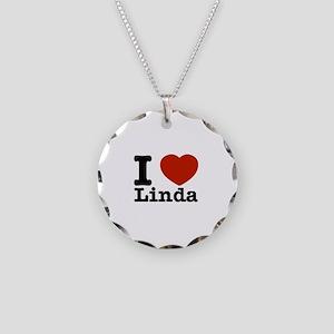I Love Linda Necklace Circle Charm