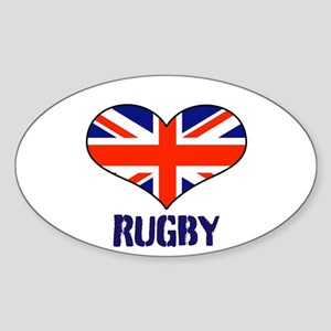 LOVE RUGBY UNION FLAG Sticker (Oval)