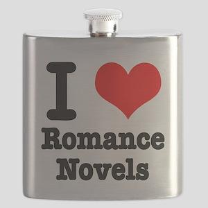 I Heart (Love) Romance Novels Flask