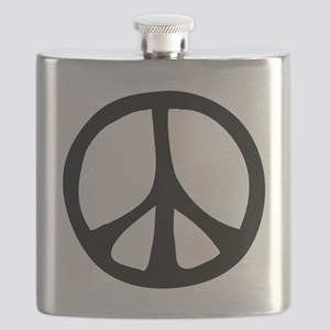 IrregularPeaceSignBW Flask