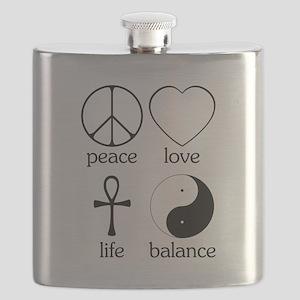 Peace Love Life Balance square II Flask