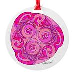 Celtic Pink Trispiral Round Ornament
