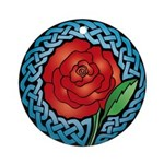 Celtic Rose Stained Glass Ornament (Round)