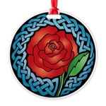 Celtic Rose Stained Glass Round Ornament