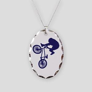BMX Biker Necklace Oval Charm